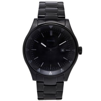 FOSSIL 黑色簡約風的不鏽鋼手錶(FS5531)-黑色面x黑色/44mm