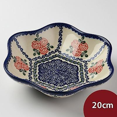 【波蘭陶 Vena】 漫野薔薇系列 花型盤 小 20cm 波蘭手工製