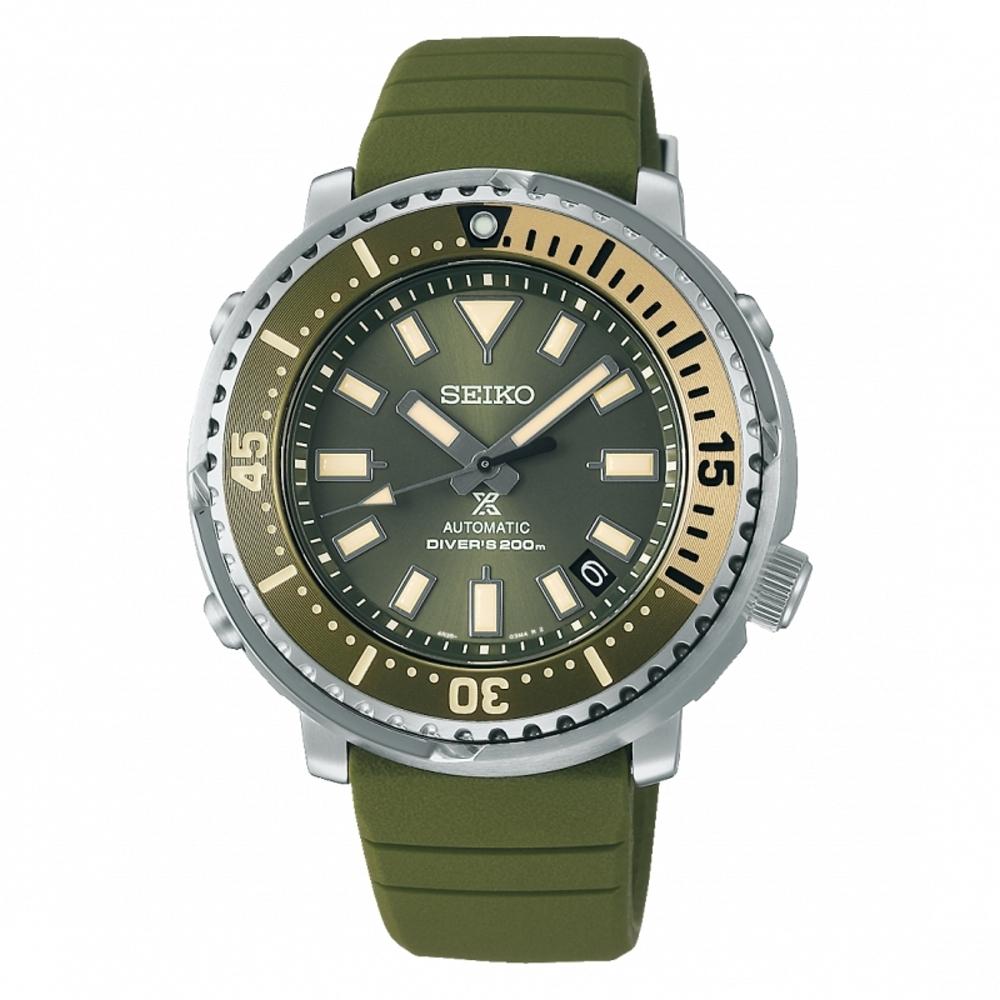 SEIKO PROSPEX 軍綠200米潛水矽膠腕錶4R35-04L0G(SRPF83K1)