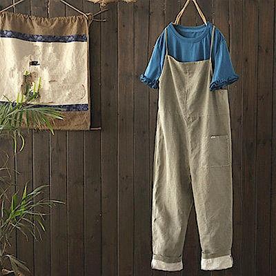 寬鬆棉麻背帶褲連身休閒九分褲-K1522-設計所在