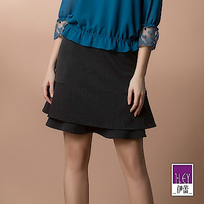 ILEY伊蕾 荷葉層次造型圓點緹花裙(黑)