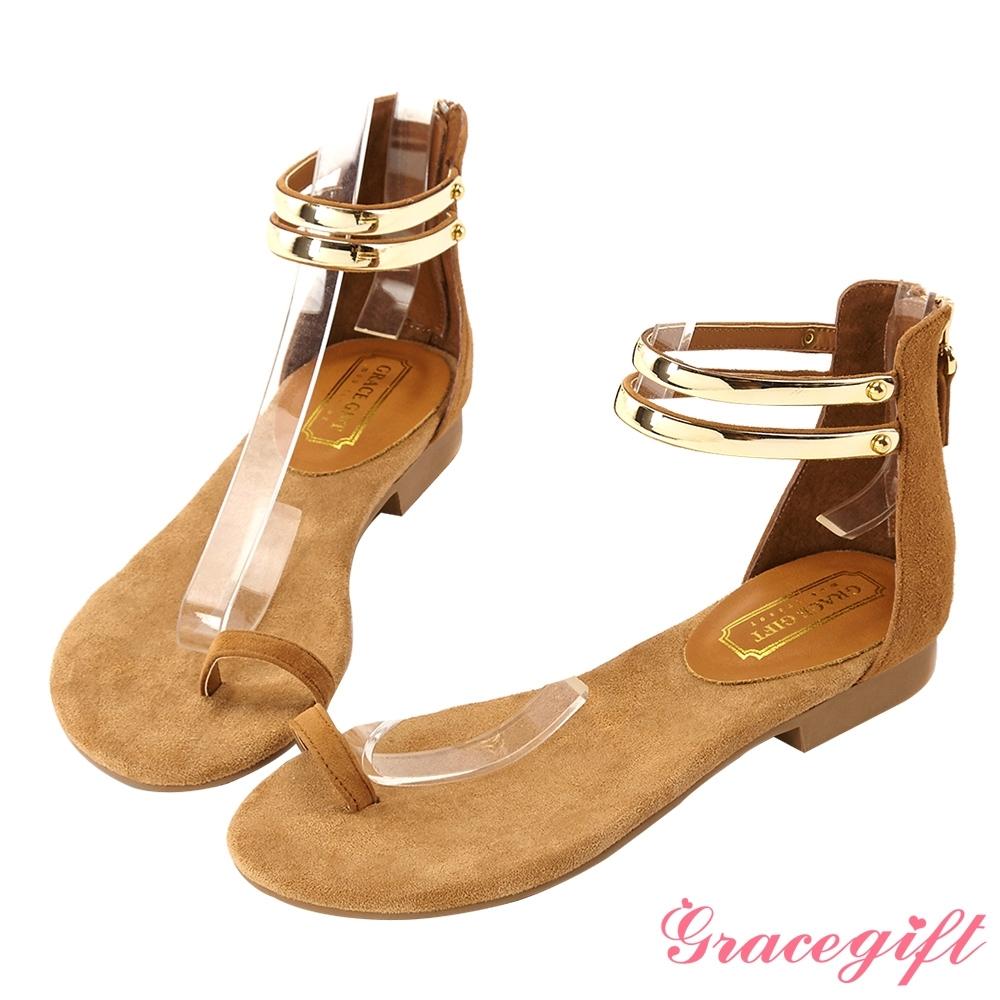 Grace gift-真皮金屬踝帶套趾涼鞋 棕