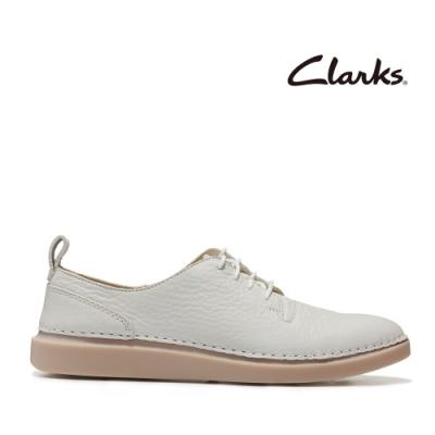 Clarks 步步清新 簡約復古精緻縫線設計休閒女鞋 白色
