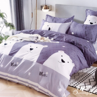 BUTTERFLY-柔絲絨卡通四件式全鋪棉兩用被床包組-白熊點點(雙人)