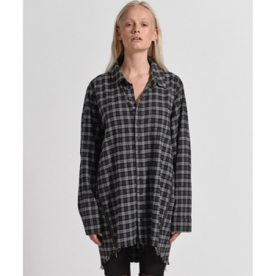 OneTeaspoon 襯衫 UPSIZED CHECK ZIP UP-灰(女)