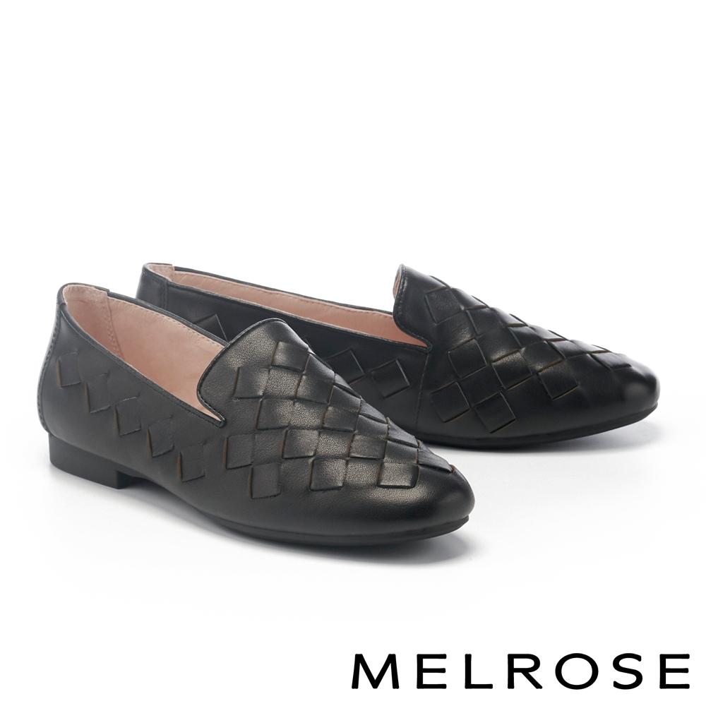 低跟鞋 MELROSE 別緻經典菱格編織牛皮樂福低跟鞋-黑