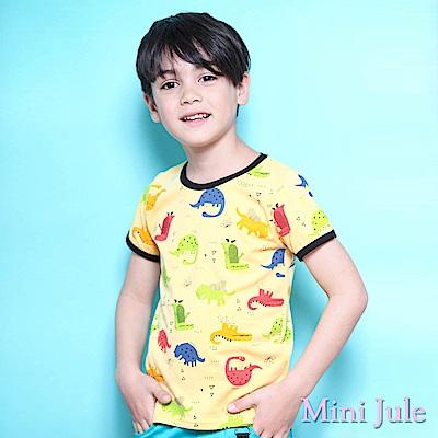 Mini Jule 上衣 滿版彩色恐龍短袖T恤 (黃)