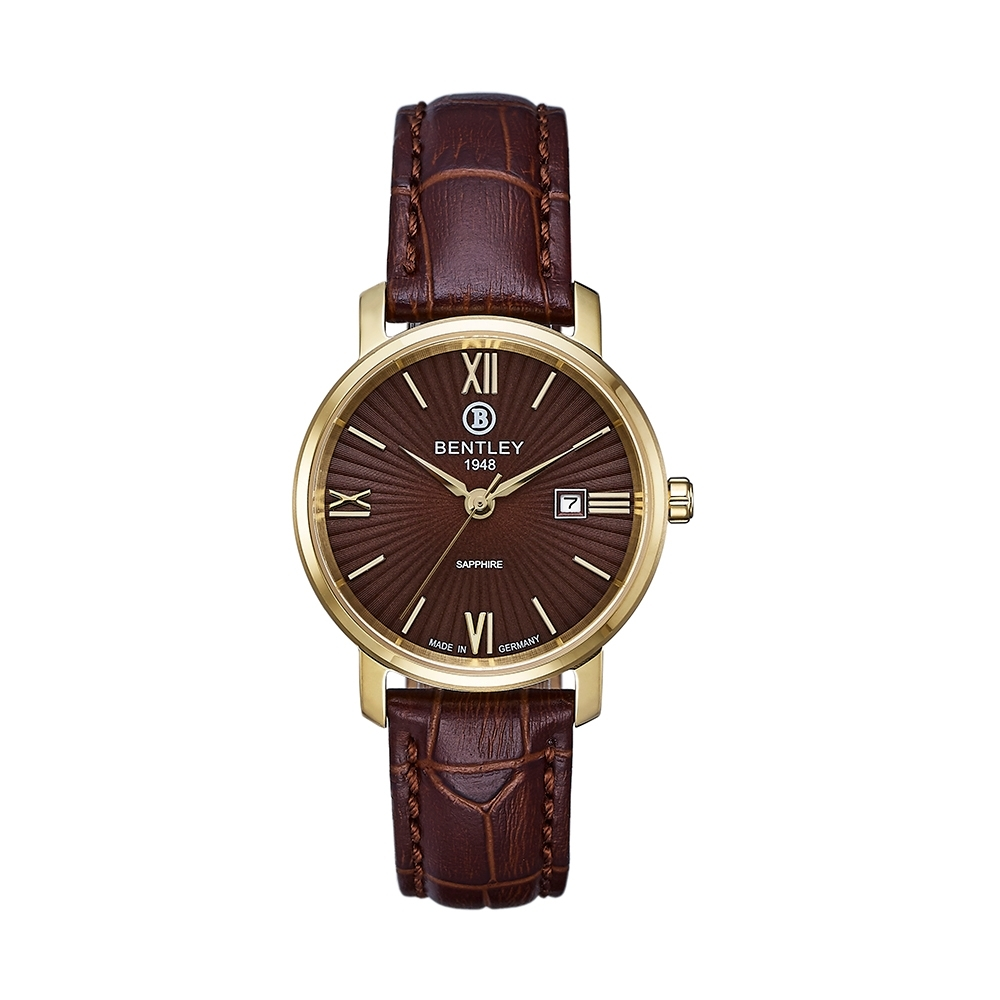 BENTLEY賓利 經典雋永系列 羅馬數字工藝手錶-咖啡/41mm