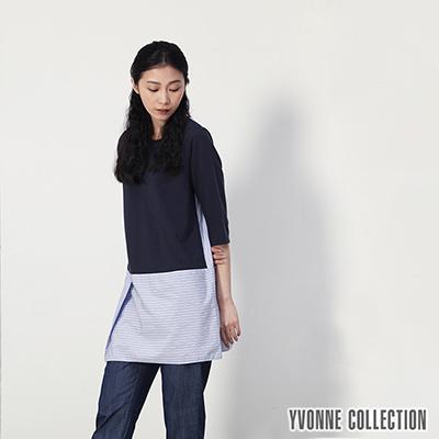 YVONNE直條紋拼接長版上衣