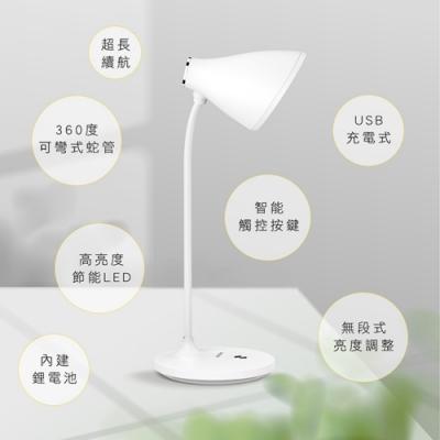 KINYO  USB充插兩用大廣角LED檯燈(偏黃光)