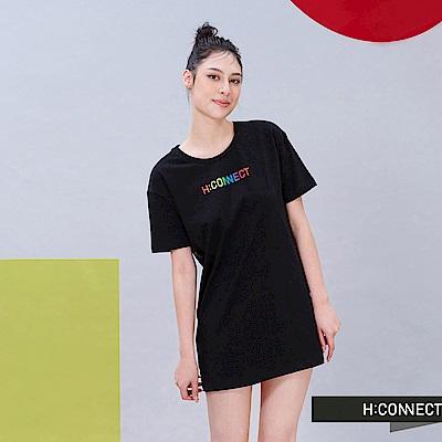 H:CONNECT 韓國品牌 女裝 - 彩虹LOGO側邊長版T-shirt-黑色