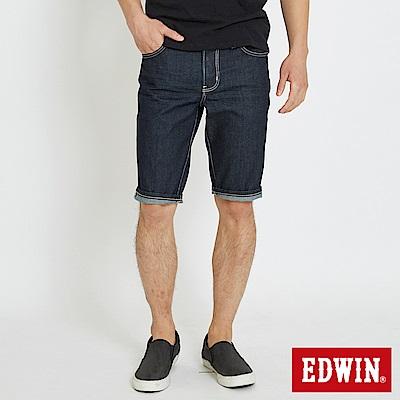 EDWIN 大尺碼503休閒基本五袋短色褲-男-原藍色
