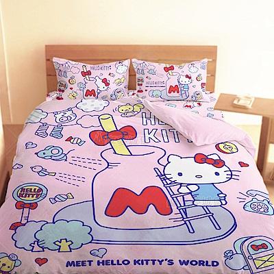 享夢城堡 單人床包雙人涼被三件組-HELLO KITTY 世界-粉