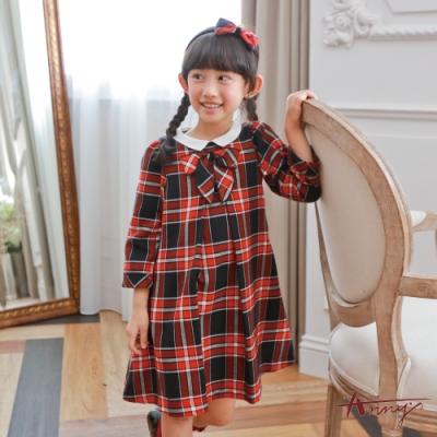 Annys安妮公主-可愛學院風圓領蝴蝶結格紋秋冬款長袖洋裝*7230紅色