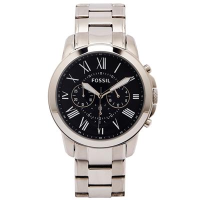 FOSSIL 時尚羅馬風格的計時款手錶(FS4736IE)-黑面X銀色/44mm