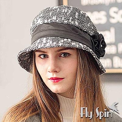 FLYSPIN 保暖羊毛混紡緞帶花朵淑女圓邊冬帽