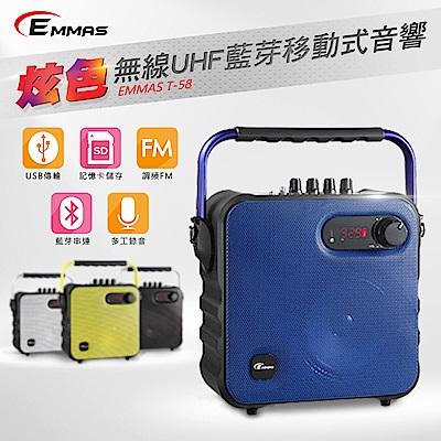 EMMAS 移動式藍芽喇叭/頭戴式教學無線麥克風 (T-58)福利品