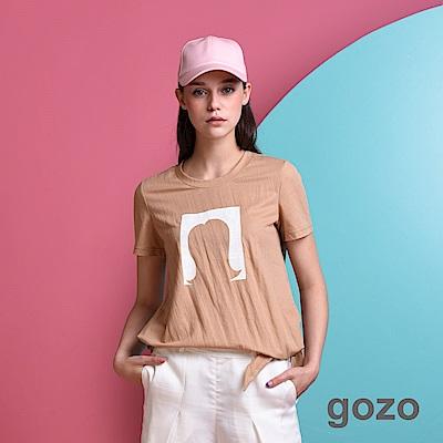 gozo 女孩剪影側邊綁帶寬版棉T(三色)