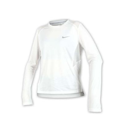 NIKE 女針織長袖上衣-長T T恤 慢跑 路跑 白銀