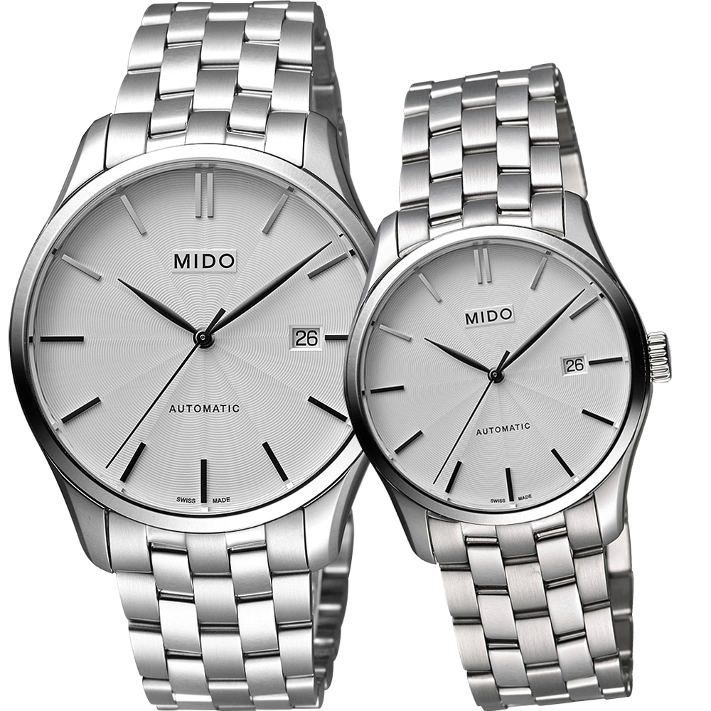 MIDO Belluna II 雋永系列經典機械對錶-銀/40+33mm M0244071103100+M0242071103100