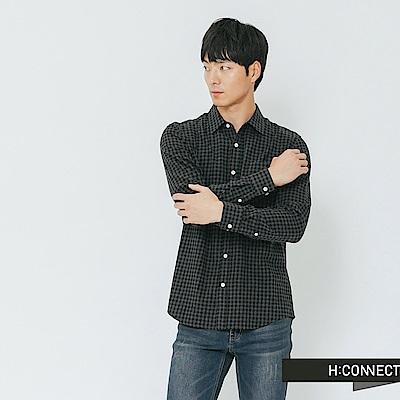 H:CONNECT 韓國品牌 男裝-細格紋單口袋襯衫-黑