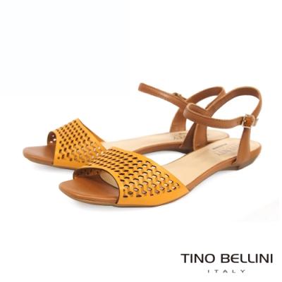 Tino Bellini巴西進口雷射沖孔繫踝魚口涼鞋_橘