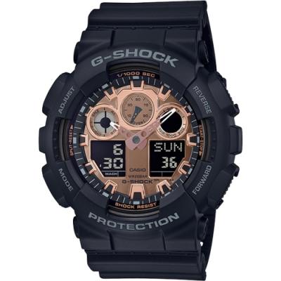 G-SHOCK 一級玩家多功能數位雙顯錶-玫瑰金(GA-100MMC-1A)/35mm