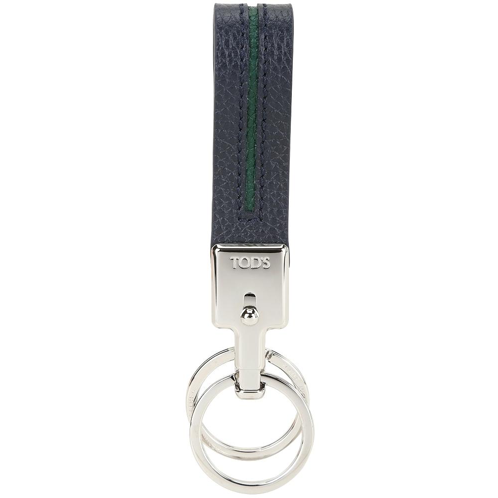 TOD'S 撞色皮革吊飾/鑰匙圈(深藍x綠)