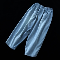 水洗磨白彩染破洞纯棉牛仔裤潮哈伦七分裤-設計所在