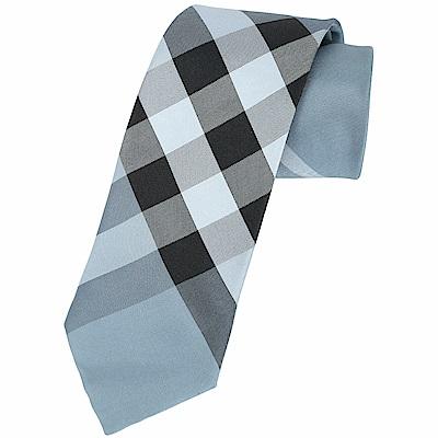 BURBERRY 現代剪裁格紋絲質領帶(淺藍色)