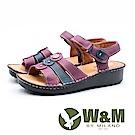 W&M 三線拚色魔鬼氈黏涼鞋 女鞋 - 紫(另有橘)