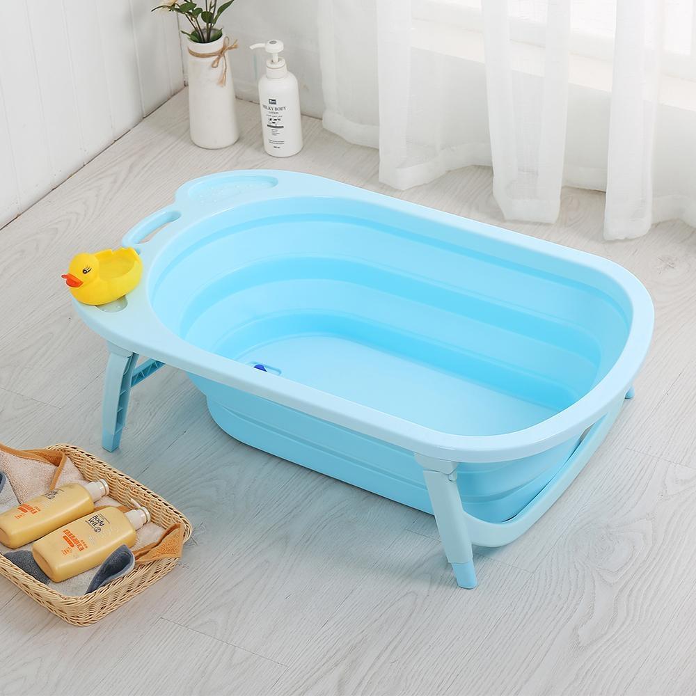 【Caring】可攜式摺疊澎澎桶 嬰兒浴盆澡盆 獨家贈洗澡玩具