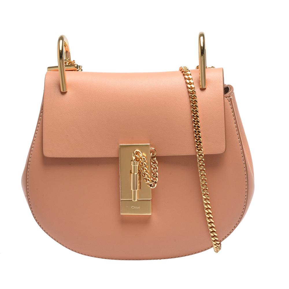 CHLOE 經典Drew系列荔枝紋小牛皮圓弧造型金鍊肩背包(腮紅粉色)