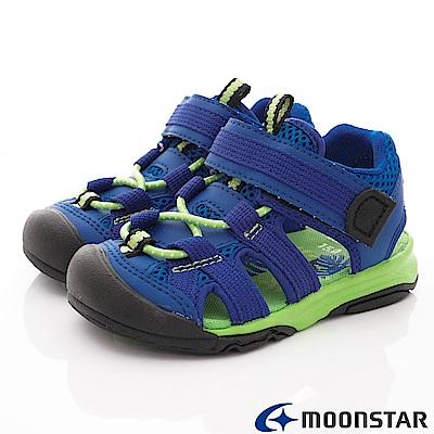 日本月星頂級童鞋 SUGAR護趾涼鞋 FO855藍(中小童段)