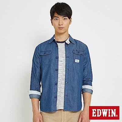 EDWIN 基本袋蓋式 牛仔襯衫-男-中古藍