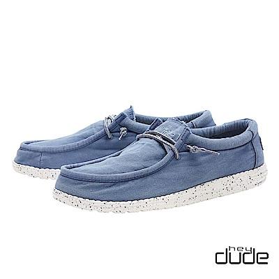 HEY DUDE(男) 四孔加厚水洗棉布輕量休閒鞋  - 年代藍