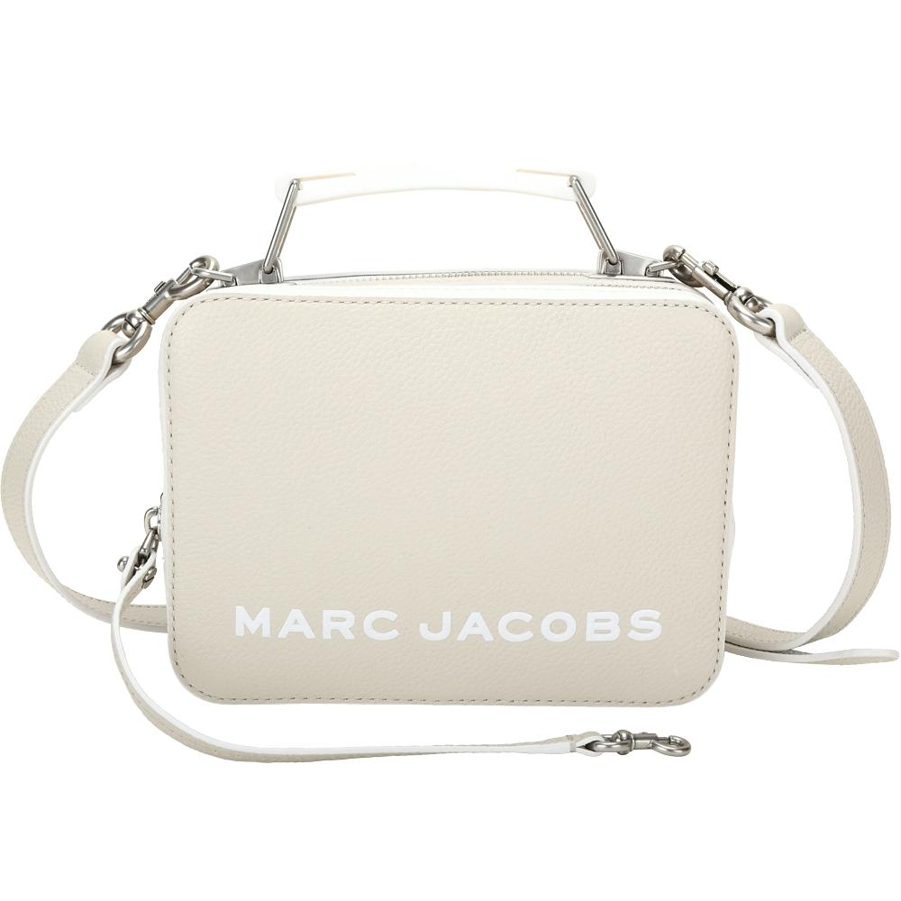 MARC JACOBS THE BOX 20 仿舊銀雙拉鍊拚色牛皮手提/肩背包(燕麥色)