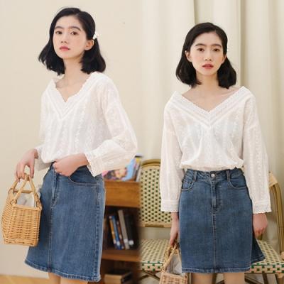 【韓國K.W.】(預購)高貴氣質法式浪漫V領上衣-1色