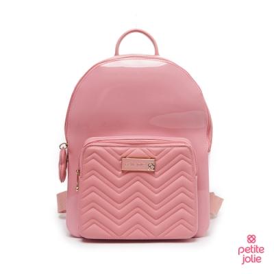 Petite Jolie--V字壓紋背帶果凍雙肩包-粉紅