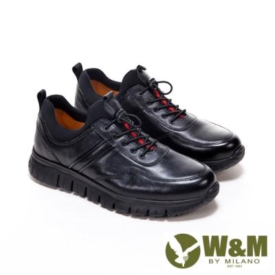 W&M 超軟牛皮彈性釦厚底鞋休閒鞋 男鞋 -黑(另有深咖)