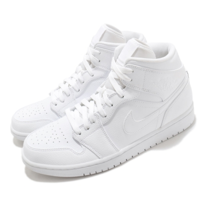 Nike 休閒鞋 Air Jordan 1 Mid 男鞋 基本款 簡約 皮革 喬丹一代 穿搭 全白 554724126