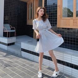 IMStyle 時尚寬鬆條紋傘狀連身裙【正品】