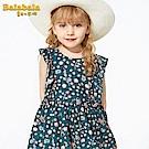 Balabala巴拉巴拉-波西米亞感荷葉剪裁碎花洋裝-女(2色)