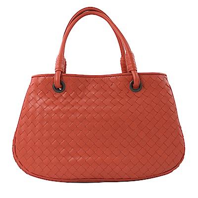BOTTEGA VENETA 編織皮革雙層手提包(橘)
