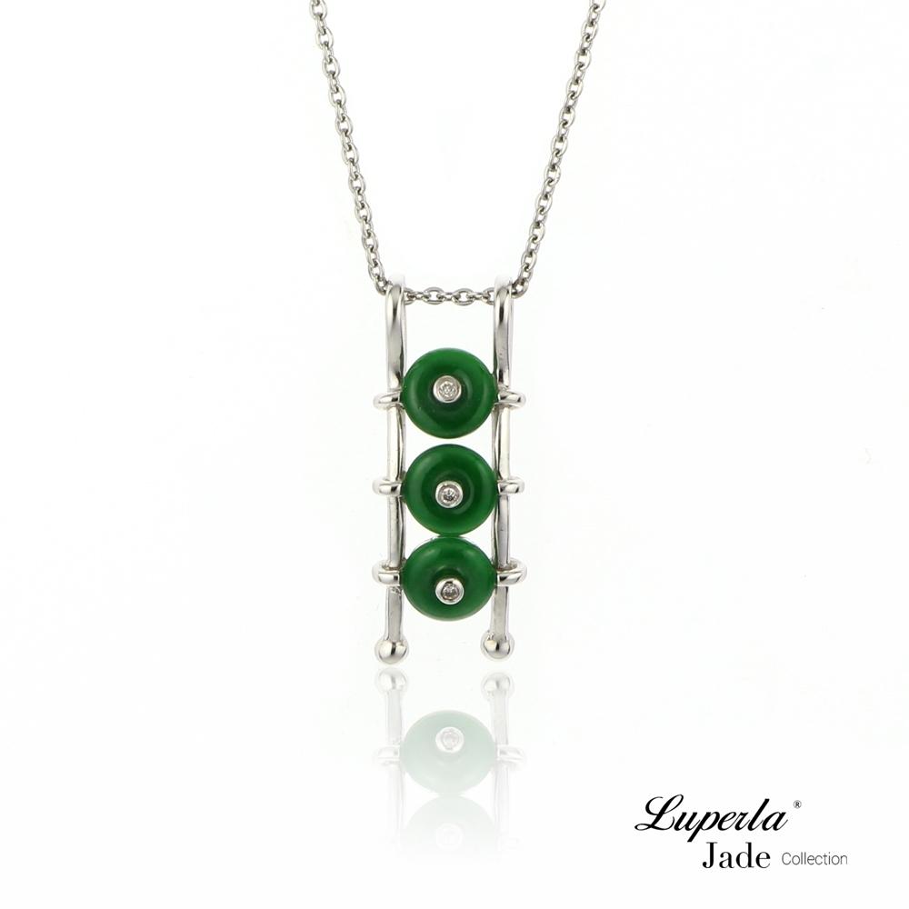 大東山珠寶 天然緬甸老坑玻璃種A貨翡翠 頂級真鑽18K白金項鍊 事事如意