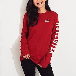 海鷗 Hollister 經典刺繡大海鷗文字設計長袖T恤(女)-紅色