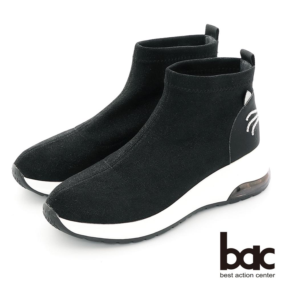 【bac】休閒享樂閃耀彈力俏皮休閒襪靴-黑色