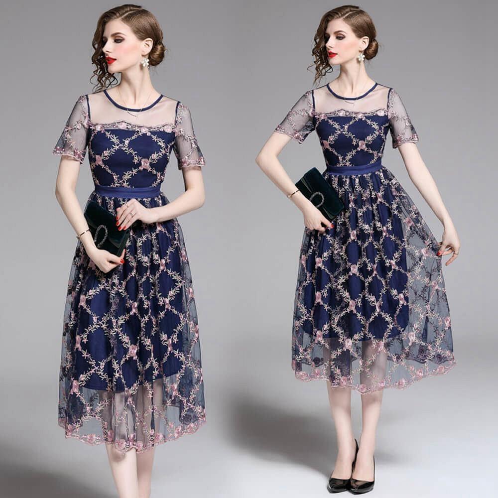 優雅氣質玫瑰雕花紋靚藍半透紗洋裝S-2XL-M2M