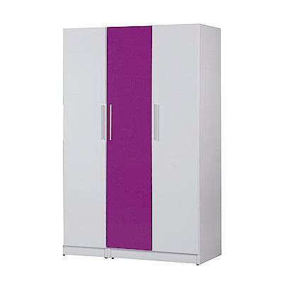 文創集 艾倫環保4.1尺塑鋼三門衣櫃(三色)-122x46.5x192cm-免組