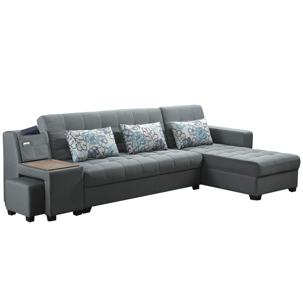 文創集 皮卡 現代灰透氣緹花布L型機能沙發/沙發床組合(沙發/沙發床二用+附贈收納小椅凳)-280x158x85cm免組